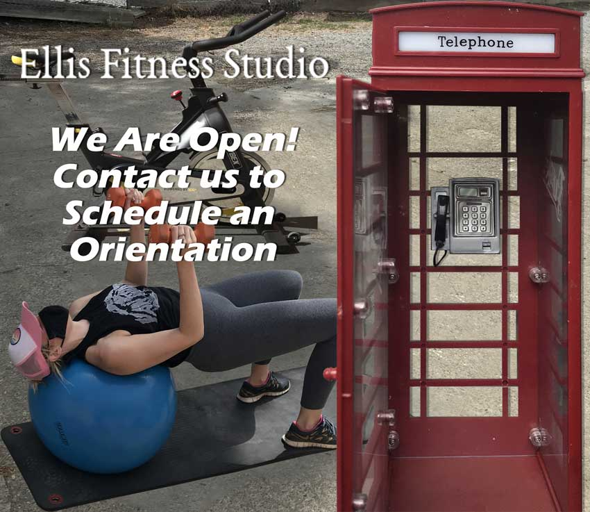 Ellis Fitness Studio - We are open - Woman with fitness equipments, a phone booth and texts